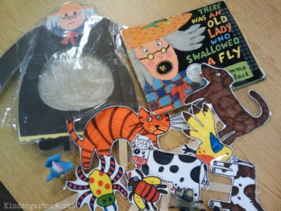 KindergartenWorks: retell literacy center activity - There Was An Old Lady Who Swallowed a Fly