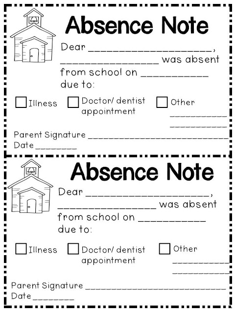 Free absence note for kindergarten - Top 20 Kindergarten Teaching Ideas to Try Right Now