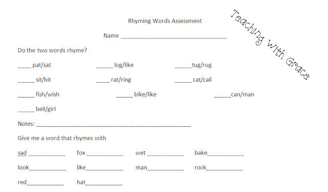 Free Rhyming Words Assessment - Top 20 Kindergarten Teaching Ideas to Try Right Now