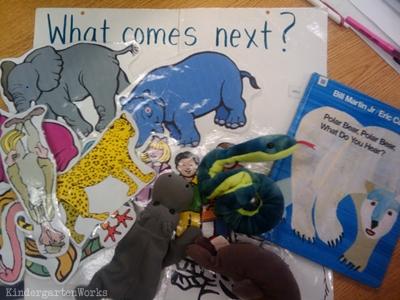 KindergartenWorks: retell literacy center activity - Polar Bear, Polar Bear, What Do You Hear?