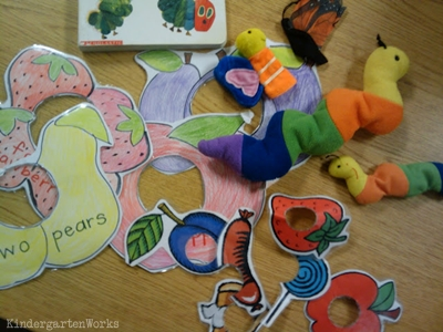 KindergartenWorks: retell literacy center activity - The Very Hungry Caterpillar