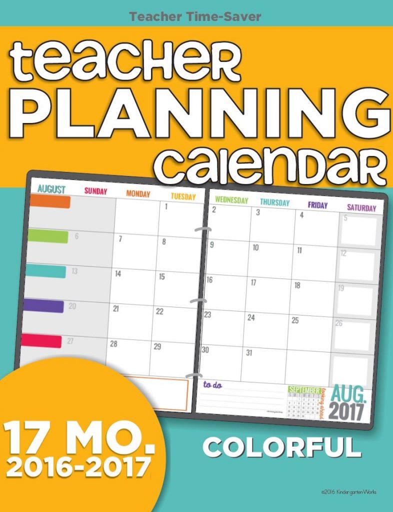 Teacher Planning Calendar 2016 2017 Colorful