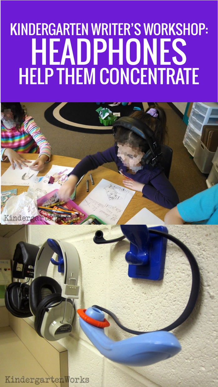 Use old pairs of headphones in kindergarten writing time to help focus