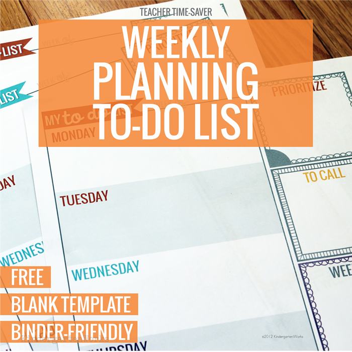free weekly planning to do list for teachers
