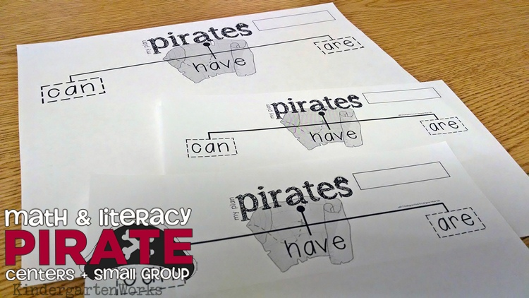 Kindergarten Pirate Unit - Reading, Writing and Math