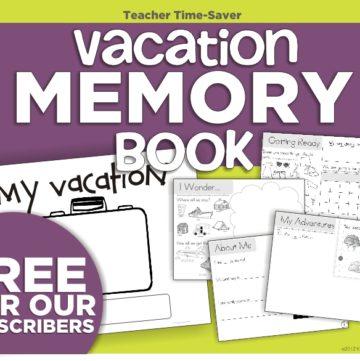Instant Homework - Vacation Memory Book - KindergartenWorks
