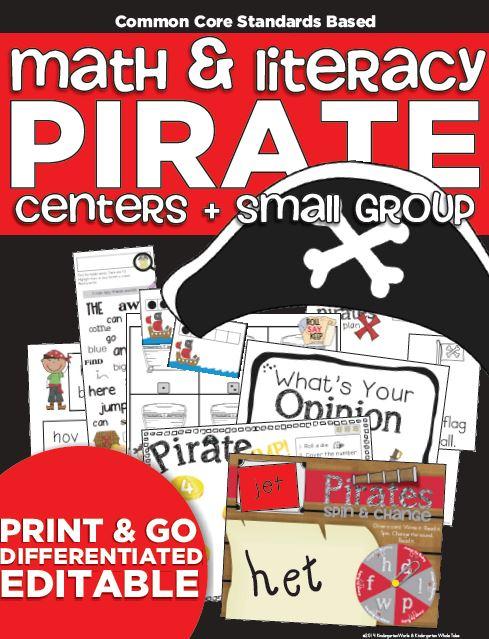 Kindergarten Math and Literacy Pirate Unit Instant Download