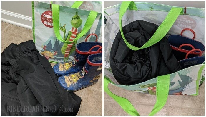 How to use a reusable shopping bag to send snow pants and boots to school