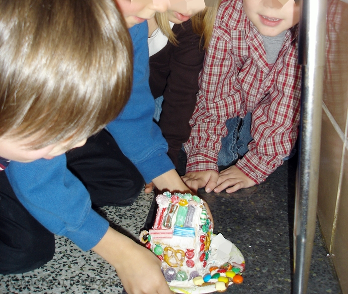 The Best Kindergarten Christmas Tradition EVER - gingerbread houses to catch gingerbread cookies