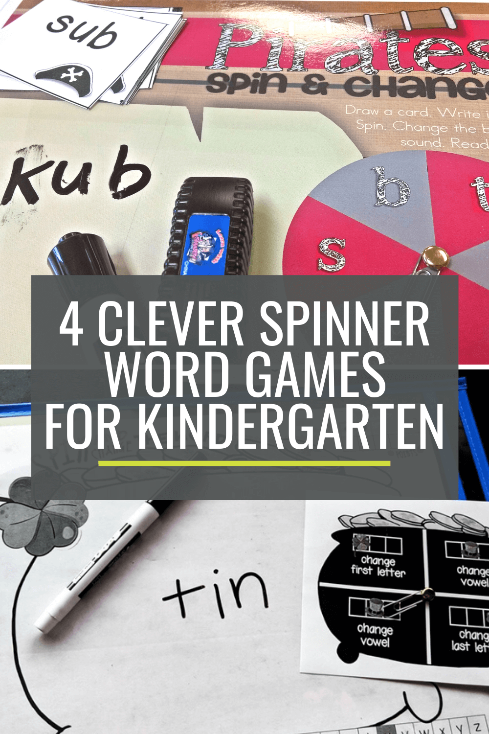 4 Clever Spinner Word Games for Kindergarten