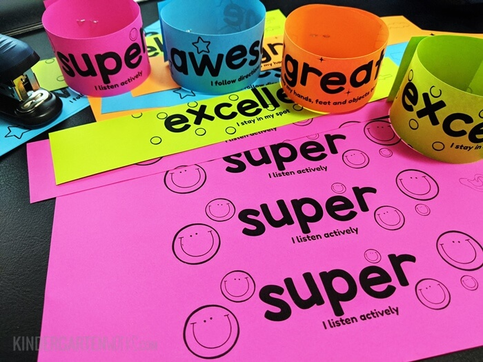 Printable bracelets to encourage positive classroom behavior