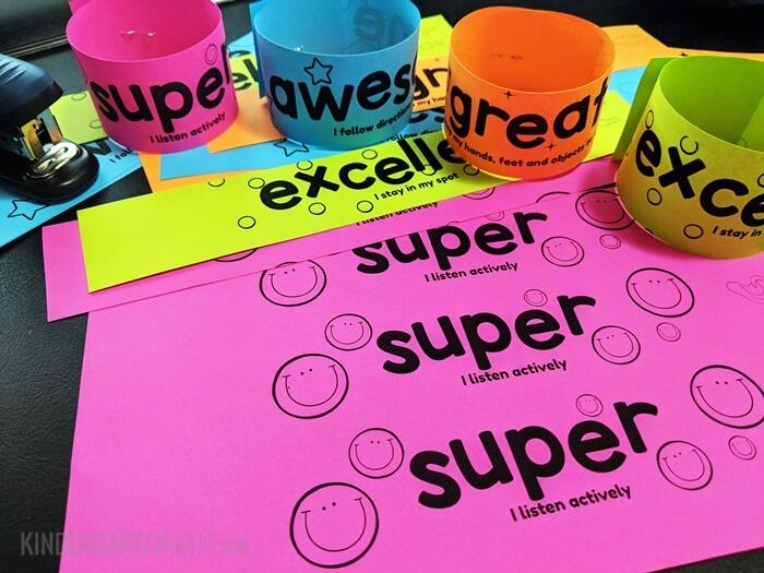 Printable bracelets to encourage positive classroom behavior