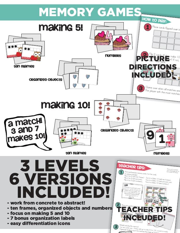 Sweet Valentine Math and Literacy Centers and Small Group Materials - Common Core Memory - KindergartenWorks
