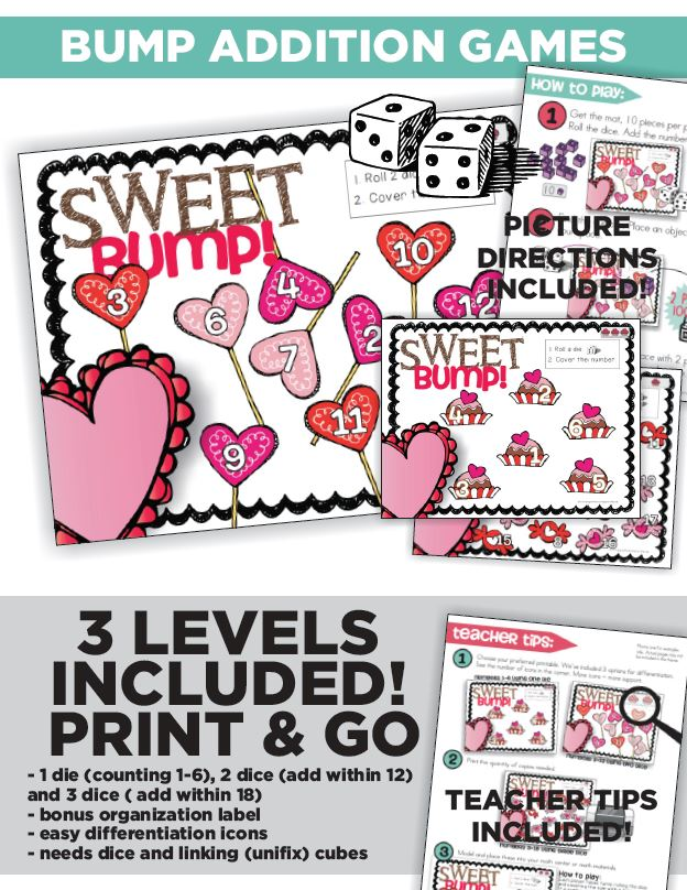 Sweet Valentine Math and Literacy Centers and Small Group Materials - Math Addition Bump - KindergartenWorks