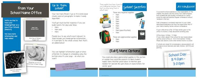 School Wide Parent Kindergarten Registration Brochure Cover - KindergartenWorks
