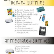 Kindergarten School Supply List