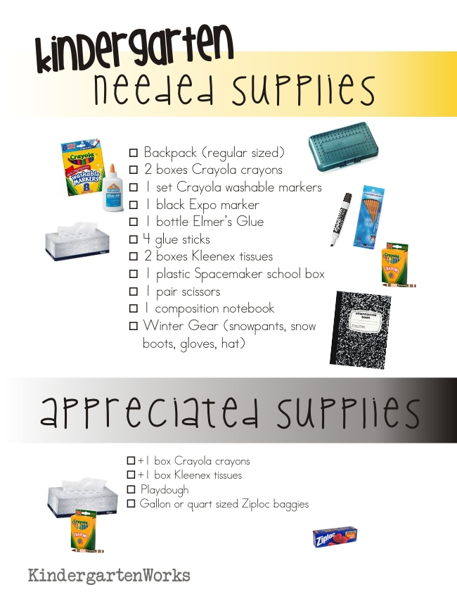 Kindergarten School Supply List :: KindergartenWorks