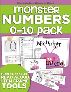 Monster Numbers Audio Book, Puzzles and Mini-Book (Numbers 0-10) in Kindergarten