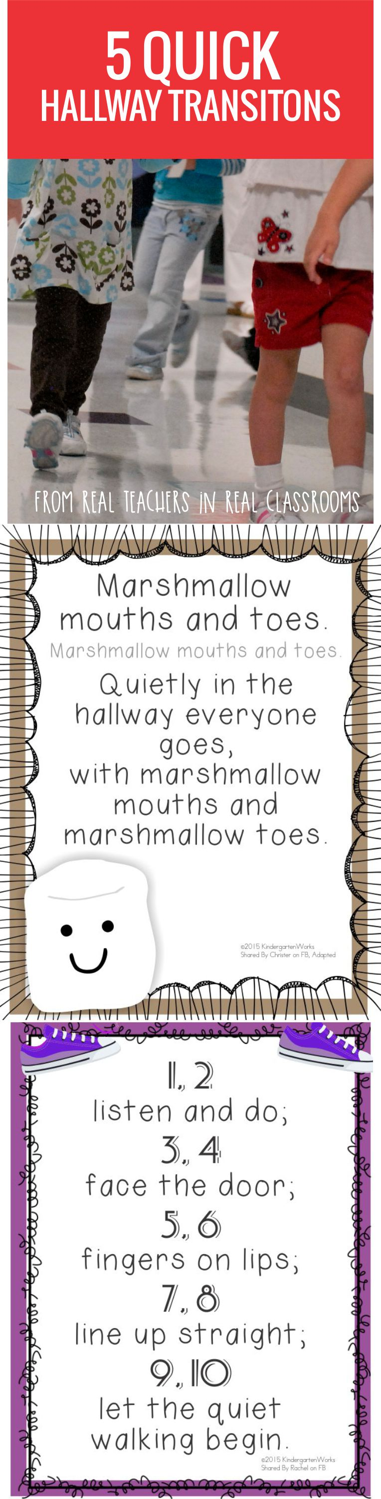 5 Quick Hallway Transitions for Kindergarten - free printable posters