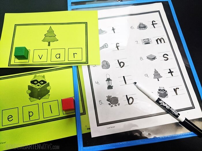 Free camping themed beginning sounds printable activity for kindergarten