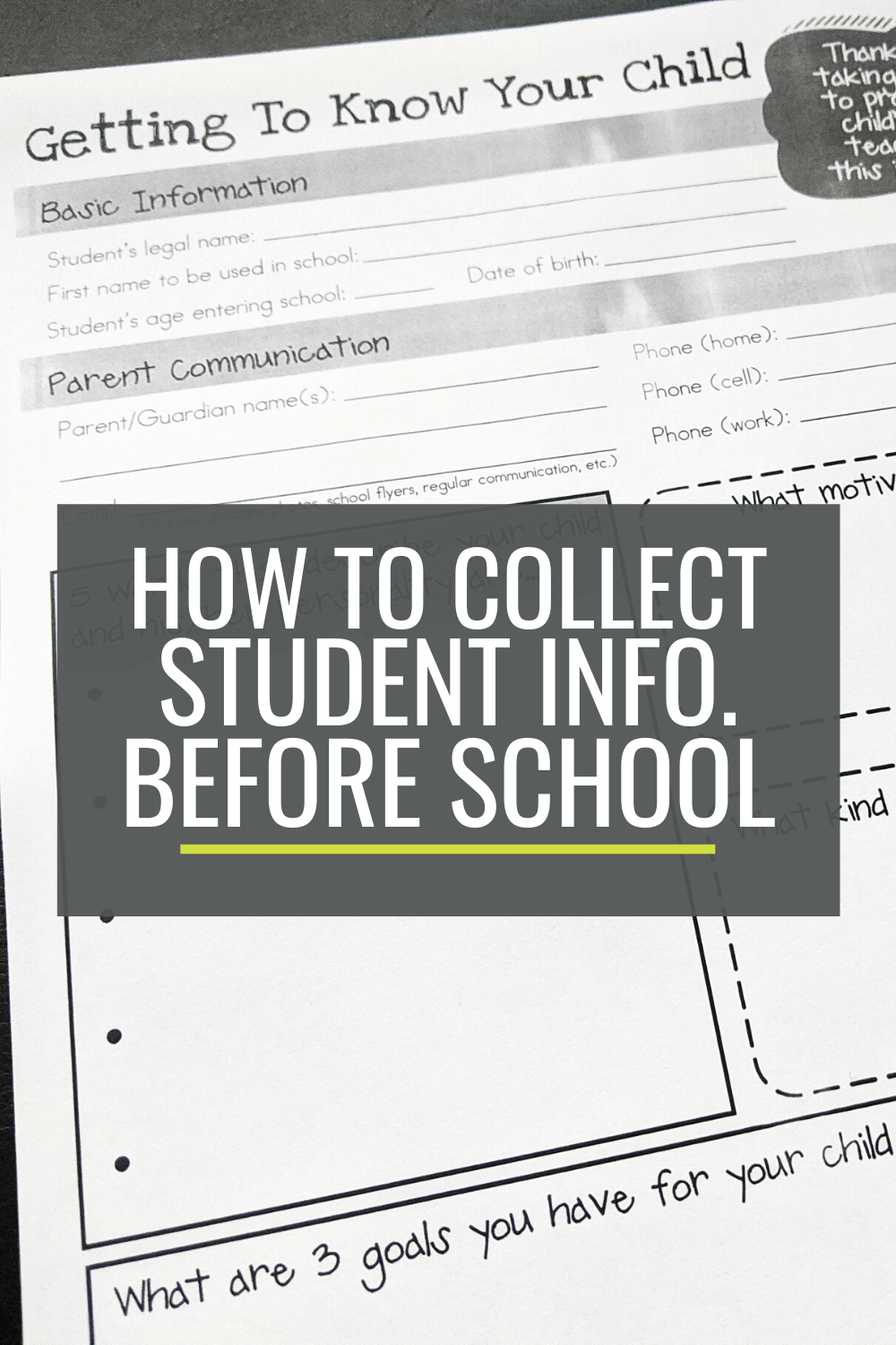 How to Collect Student Information Before Kindergarten