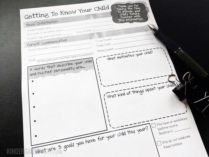 Teacher form to collect kindergarten student information