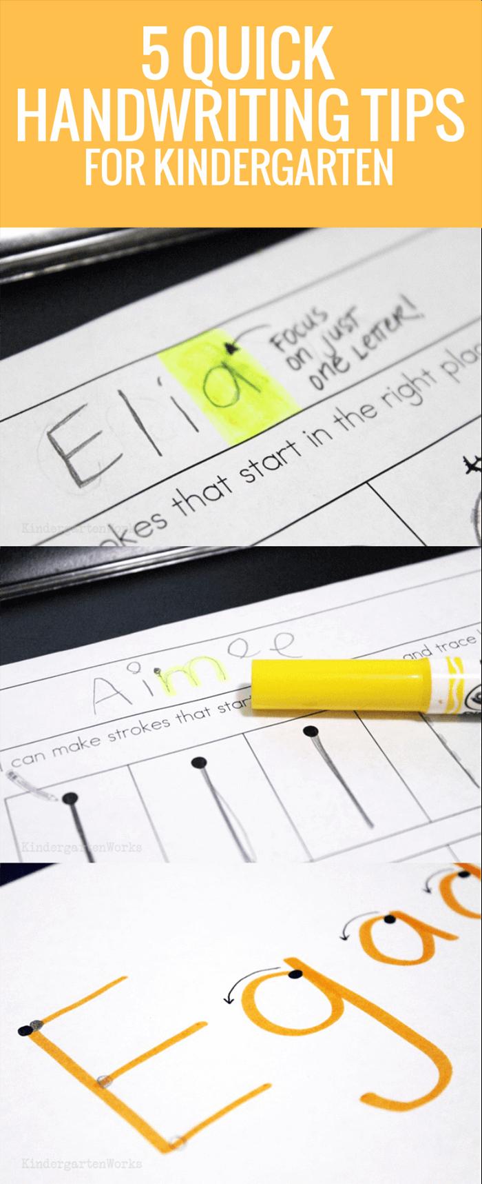 5 Quick Handwriting Tips for Kindergarten