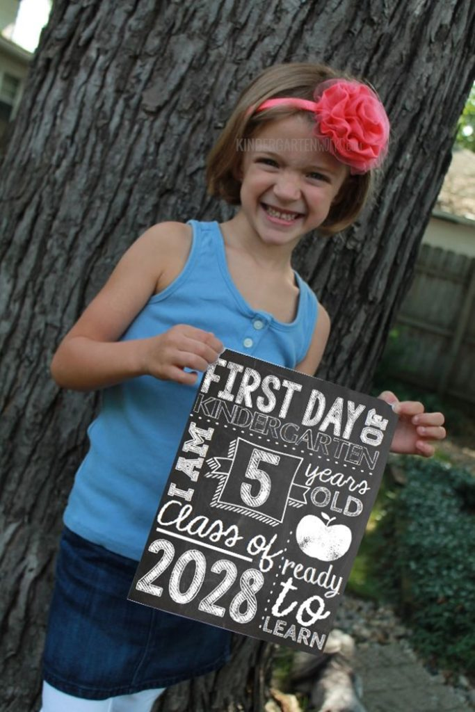 First Day of School Photo Props for Kindergarten
