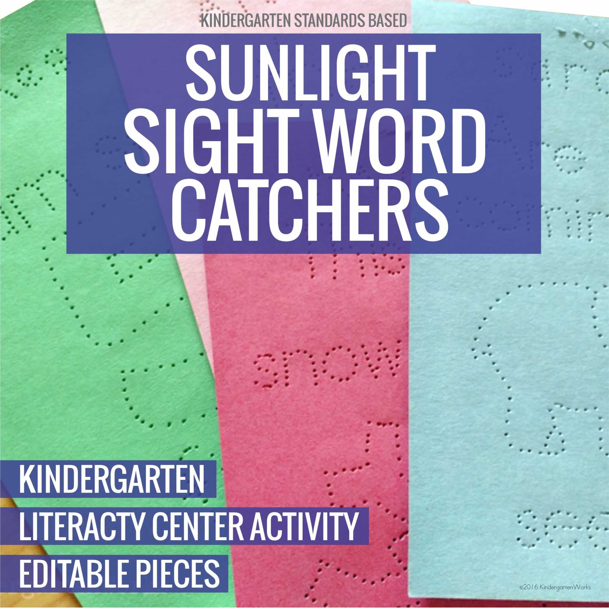 Pokey Pinning Sunlight Sight Word Catchers for Kindergarten