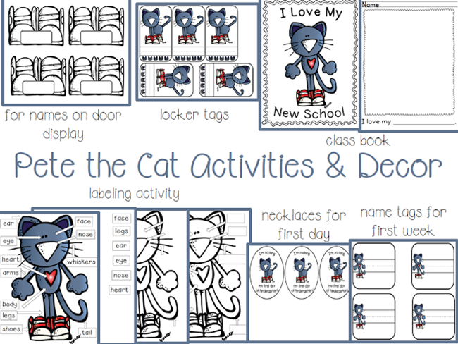 73 Cool Pete the Cat Freebies and Teaching Resources :: KindergartenWorks - Pete the Cat Activities, Necklaces and Name Tags