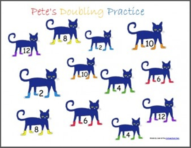 73 Cool Pete the Cat Freebies and Teaching Resources :: KindergartenWorks - Doubles Addition Bump Game