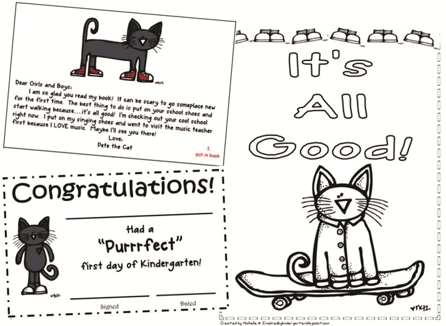 73 Cool Pete the Cat Freebies and Teaching Resources :: KindergartenWorks - First Day Certificate, School Tour, Coloring Page