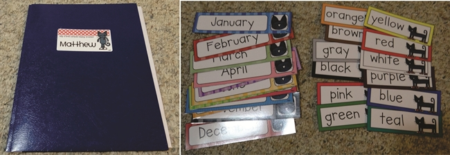 73 Cool Pete the Cat Freebies and Teaching Resources :: KindergartenWorks - Month Labels, Folder Labels