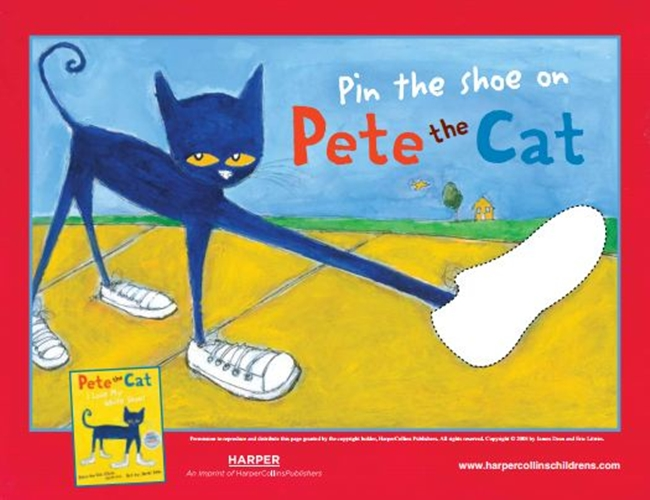 73 Cool Pete the Cat Freebies and Teaching Resources :: KindergartenWorks - Pin the Shoe