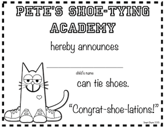 73 Cool Pete the Cat Freebies and Teaching Resources :: KindergartenWorks - Shoe Tying Certificates
