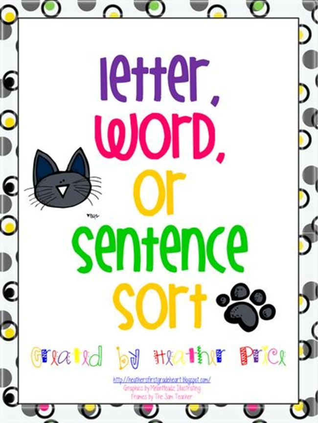 73 Cool Pete the Cat Freebies and Teaching Resources :: KindergartenWorks - Letter, Word, Sentence Sort