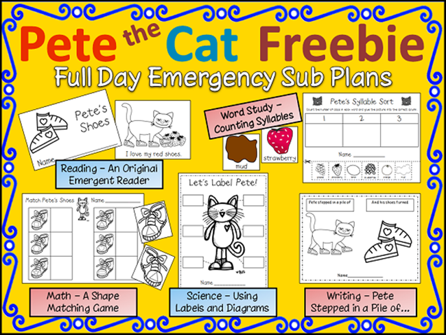 73 Cool Pete the Cat Freebies and Teaching Resources :: KindergartenWorks - Pete the Cat Full Day Sub Plans