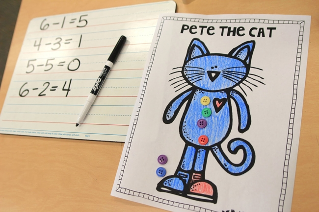 73 Cool Pete the Cat Freebies and Teaching Resources :: KindergartenWorks - Subtraction Workmat