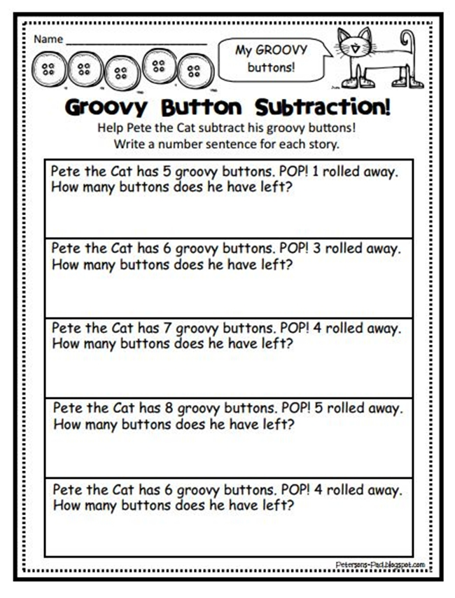 73 Cool Pete the Cat Freebies and Teaching Resources :: KindergartenWorks - Groovy Button Subtraction