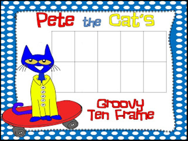 73 Cool Pete the Cat Freebies and Teaching Resources :: KindergartenWorks - Groovy Ten Frame Mat