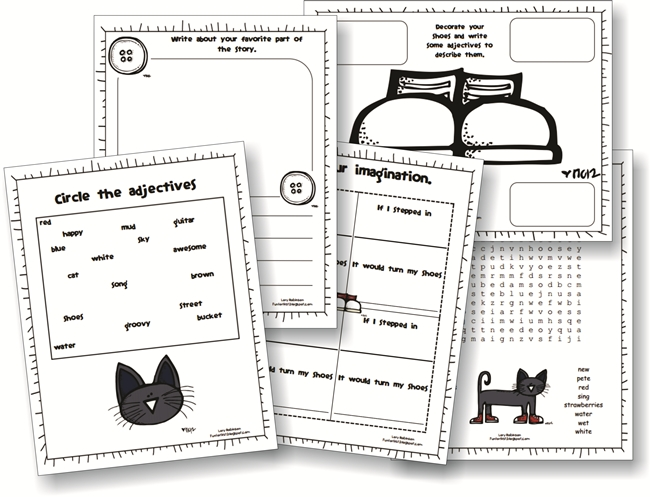 73 Cool Pete the Cat Freebies and Teaching Resources :: KindergartenWorks - Pete the Cat Activity Packet