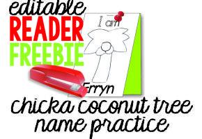 Chicka Chicka Boom Boom freebie coconut tree name pinning page {printable}