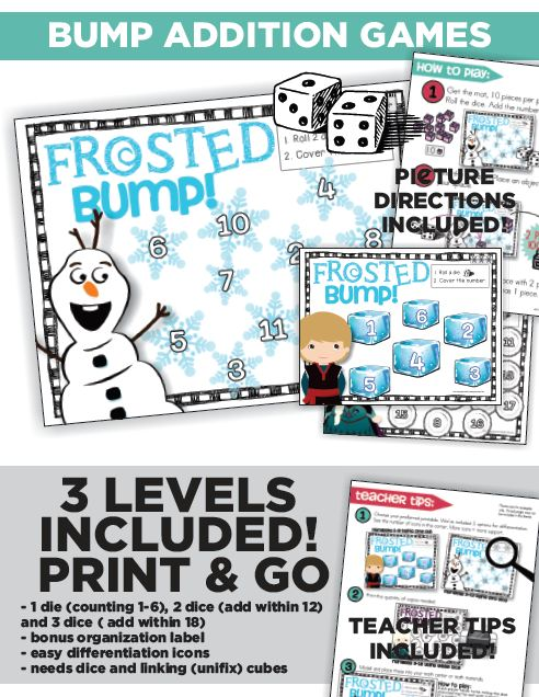 Frosted Cool Math Dice Game Bump Kindergarten : Differentiated Addition Bump Games
