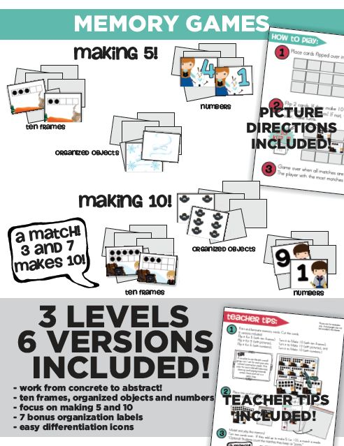 Frosted Cool Math Memory Game Kindergarten : Making 5 and 10 Memory Games