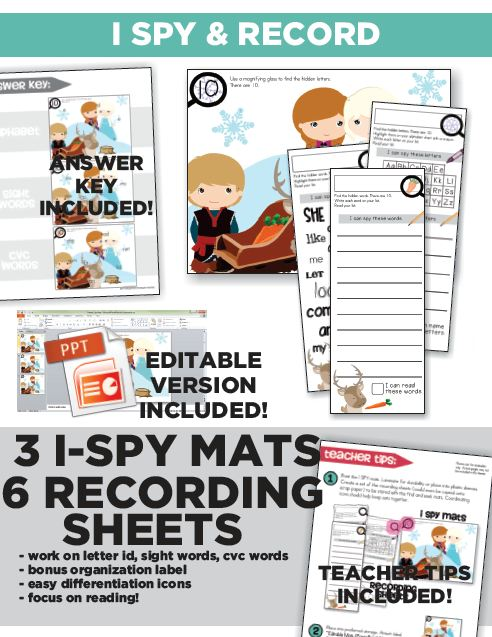 Frosted I-Spy Letters Sight Words Reading Kindergarten : I SPY and Record