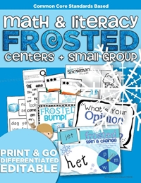 Frosted Frozen Centers and Small Group Materials Kindergarten