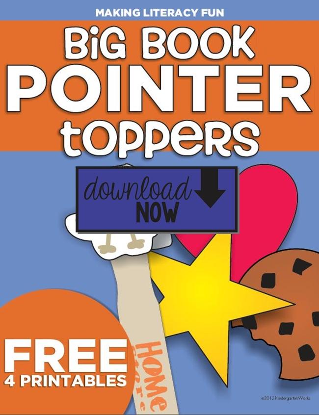 Big Book Pointer Toppers Freebie Printable - KindergartenWorks