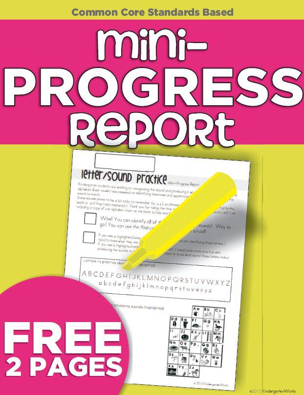Letter and Sound Identification Mini-Progress Report {Freebie ...