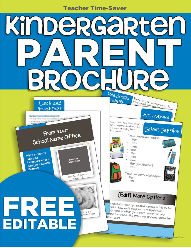 New kindergarten parent brochures editable freebie for Parent flyer templates