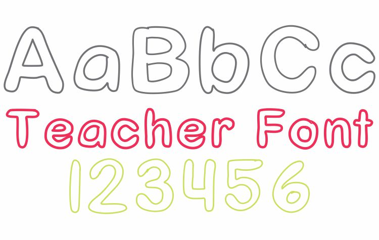 Outline Clear Trace Font Teacher Font - Free Download KindergartenWorks